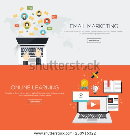 Flat designed banners for Email marketing and Online Learninig. Vector - stock vector