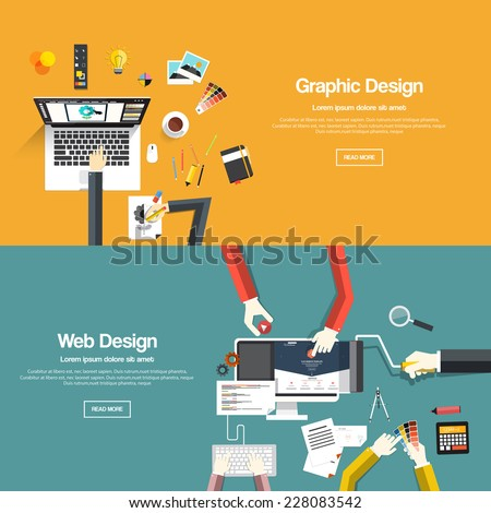 Flat designed banners for graphic design and web design. Vector - stock vector