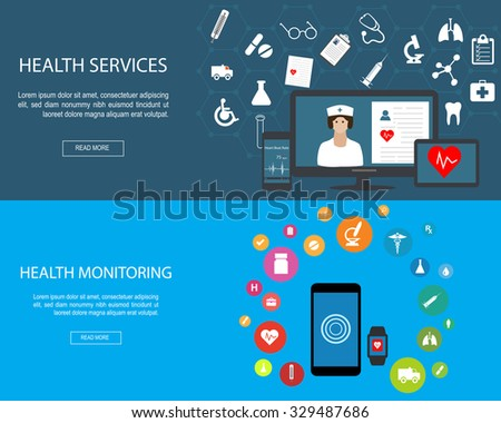 Flat designed banners for Health Services and Health Monitoring - stock vector