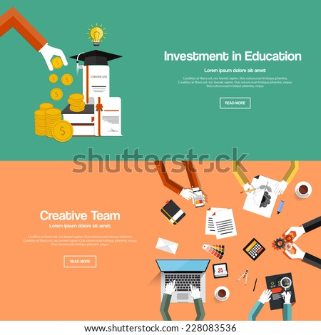 Flat designed banners for investment in education and creative team. Vector - stock vector