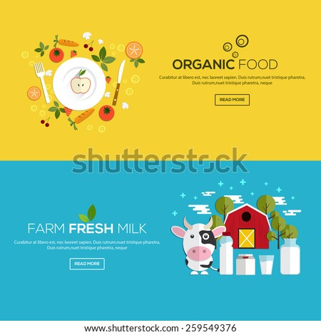 Flat designed banners for Organic food and Farm fresh milk. Vector - stock vector