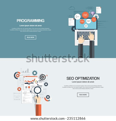 Flat designed banners for programming and seo optimization. Vector - stock vector