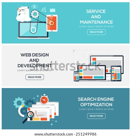 Flat designed banners for service, web design and  development and SEO. Vector - stock vector