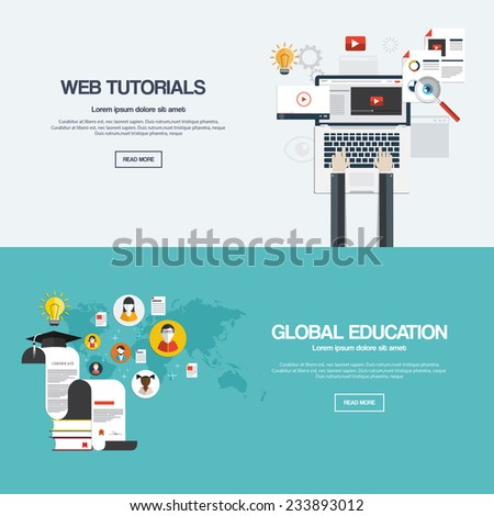 Flat designed banners for web tutorials and mobile global education. Vector - stock vector