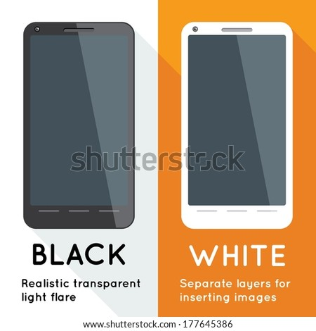 Flat designed black and white touchscreen smart phones. Flat phone eps. Vector illustration with separate layers for insert your own image and ease of use as mockups. - stock vector