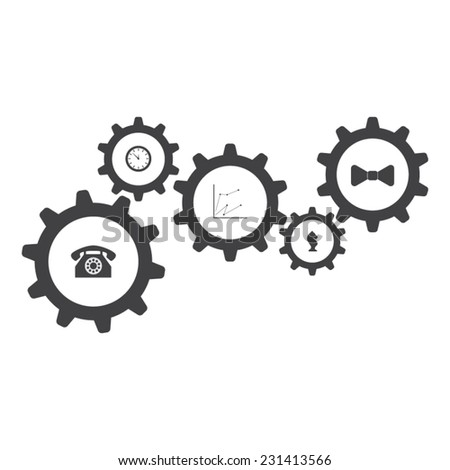 Flat designed set of gear icons. Business concept. Teamwork. Cogwheels connection - stock vector