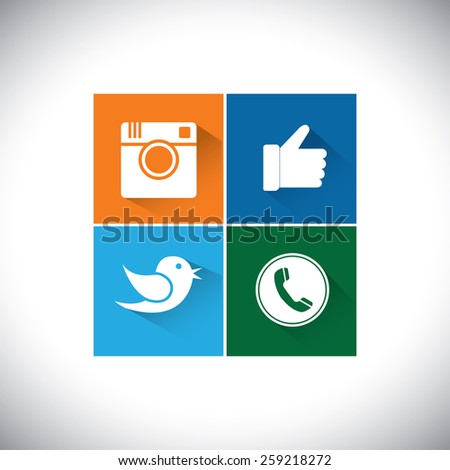 flat designs of camera, like, bird and telephone receiver -  social network vector icons. - stock vector