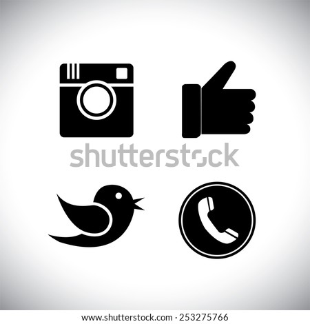 flat designs silhouettes of camera, like, bird and telephone receiver -  social network vector icons. - stock vector