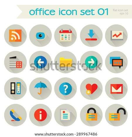 Flat detailed office set 1 colored icons with shadow on gray circles