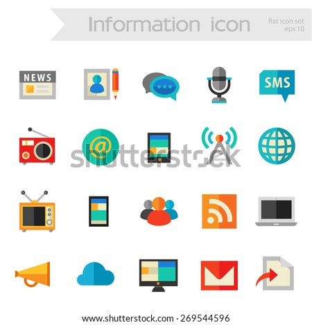 Flat detailed social colored icons on white background - stock vector