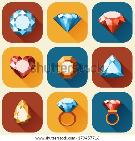 Flat diamond icons collection - vector eps10 - stock vector