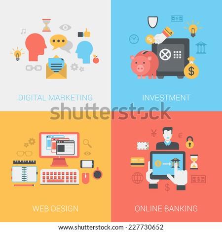 Flat digital marketing, investments, web design, online banking concept. Vector icon banners template set. Social media promotion, piggy bank, money bag. Web illustration. Website infographic element. - stock vector