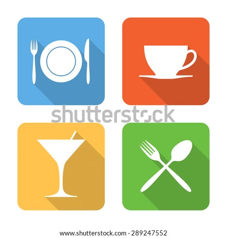 Flat dining icons with long shadows. Vector illustration - stock vector