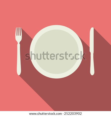 Flat Dinner Plate with Knife and Fork