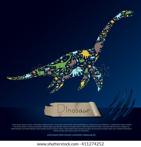 Flat dinosaur and prehistoric reptile animal infographic banner background template layout in plesiosaurus icon shape for education or advertisement, create by vector - stock vector