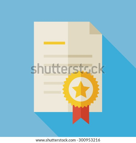 Flat Diploma Illustration with long Shadow. Paper Graduation Award with Gold Medal. Sport and Competition Winning Vector Illustration. First Place Winning Diploma Object. Medal with Star and Ribbon - stock vector
