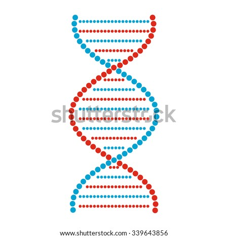 Flat DNA and molecule sign isolated on white background - stock vector