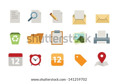 Flat document icon set  - stock vector
