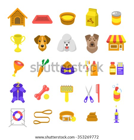 Flat dog care vector colorful web icons, isolated on white. Simple conceptual bright colors symbols of nutrition, grooming and accessories of dogs. Pets logo, pictogram, infographic elements - stock vector