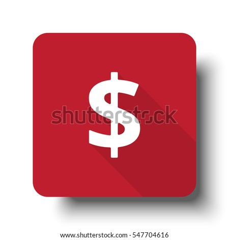 Flat Dollar web icon on red button with drop shadow