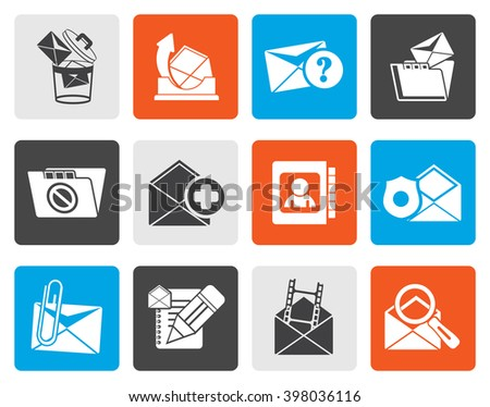 Flat E-mail and Message Icons - vector icon set - stock vector