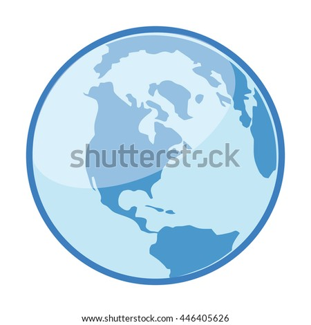 Flat earth icon.Vector planet Earth icon