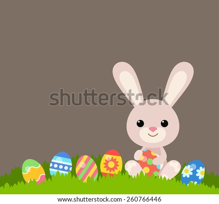 Flat Easter holiday modern style design vector celebration decoration postcard empty background template. Decorative elements objects painted eggs and bunny rabbit. - stock vector