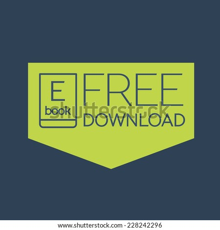 Flat Ebook free download icon. Vector button - stock vector