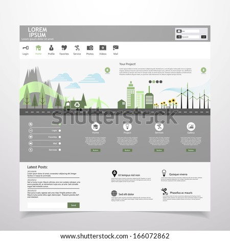 Flat eco city on Flat Website Template Design