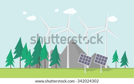 Flat eco design, rural landscape with windmill, solar panels, mountains - stock vector