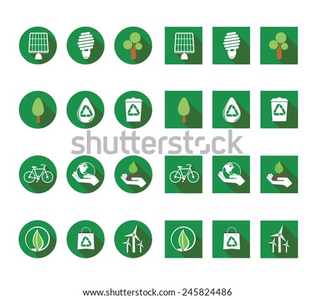 Flat ecologic icons vector set - stock vector