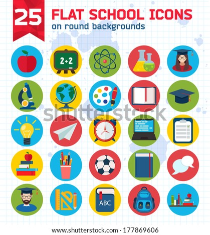 Flat education icons set - stock vector