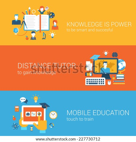 Flat education, knowledge is power, distance tutor, mobile education, e-learning concept. Vector icon banners template set. Book, teacher, tablet etc. Web illustration. Website infographics elements. - stock vector