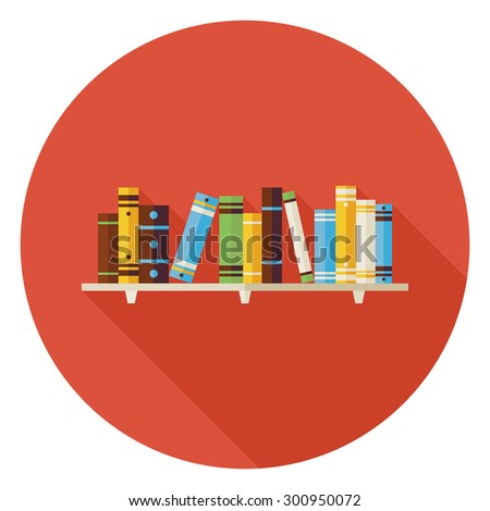 Flat Education Reading Books with Bookshelf Icon with Long Shadow. Wisdom and Knowledge Vector illustration. Book Object in Interior.   - stock vector