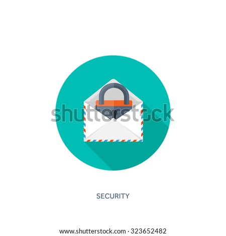 Flat envelope. Vector illustration. Emailing and communication,new message,sms. Padlock. Security and protection. - stock vector