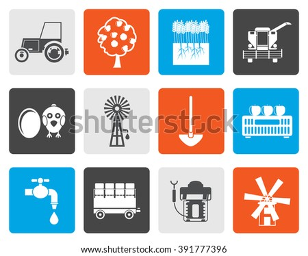 Flat farming industry and farming tools icons - vector icon set - stock vector