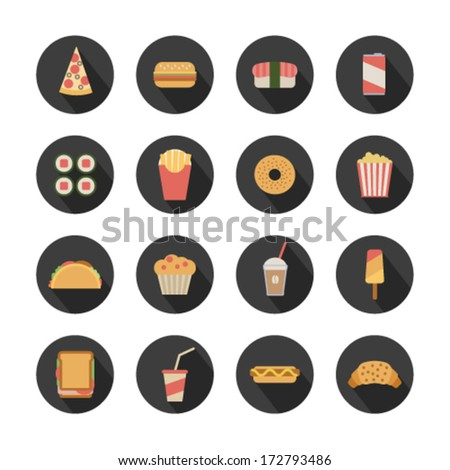 flat fast food icons on round dark background - stock vector