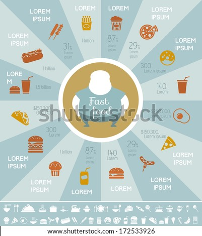 Flat Fastfood Infographic Elements plus Icon Set. Vector. - stock vector