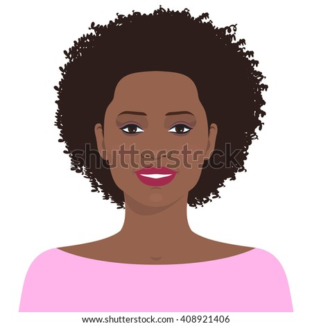 Flat female face. Avatar of smiling pretty african american young girl. Vector illustration.  - stock vector