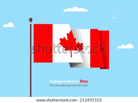 Flat flag against the blue sky. Flat flag fluttering in the wind on a background of clouds. The flat design of the flag on the flagpole. Independence Day. Flag of Canada - stock vector