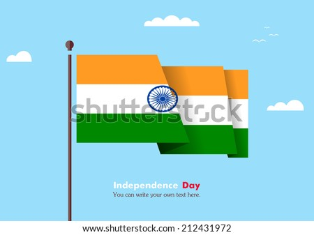 Flat flag against the blue sky. Flat flag fluttering in the wind on a background of clouds. The flat design of the flag on the flagpole. Independence Day. Flag of India - stock vector