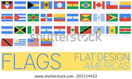Flat Flags America 2014 - stock vector