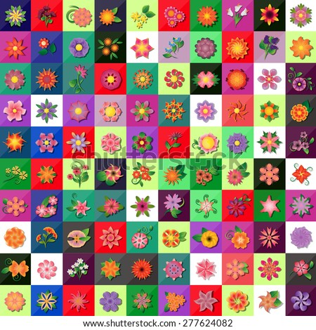 Flat Flower Icons Set - Isolated On Mosaic Background - Vector Illustration, Graphic Design, Editable For Your Design  - stock vector