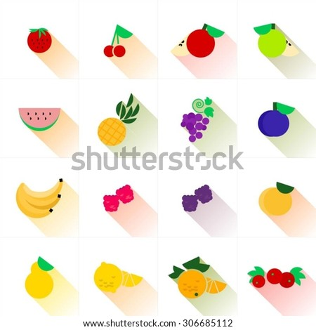 flat fruit icons isolated on white background