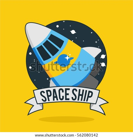 flat funny and retro cartoon yellow and blue rocket in black background space badge for company banner business poster kids and children in yellow background
