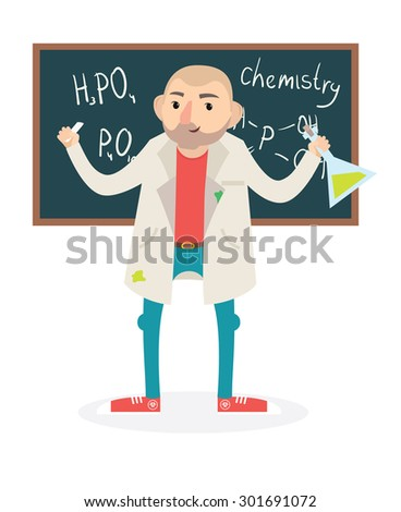 Flat funny vector chemistry professor holding tube/vector illustration - stock vector