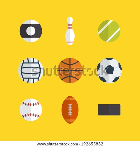 Flat game balls icons design with yellow background - stock vector