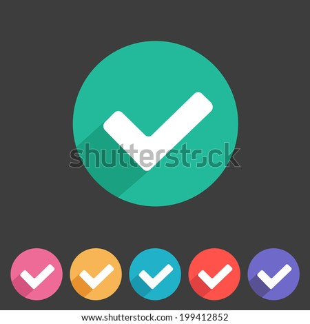 Flat game graphics icon tick - stock vector