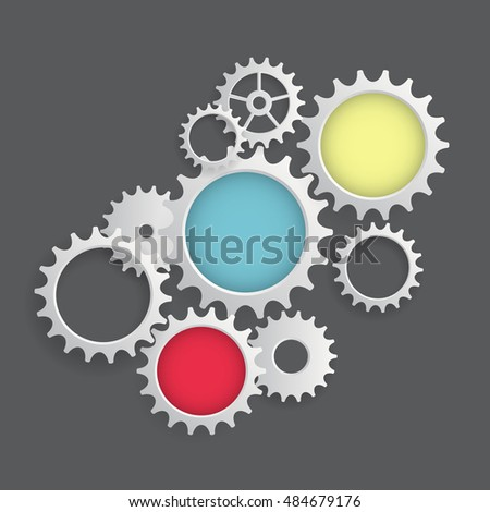 Flat Gear Icon. Cooperation and Teamwork Concept. Vector Illustration EPS10