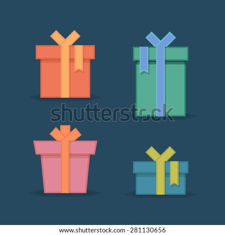 Flat gift box icon set. Gift package. Flat gift box vector icons - stock vector